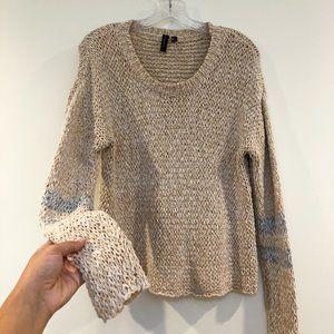 🍁Knotsisters Knit Crochet Crew Striped Sweater